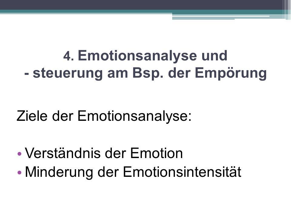 4. Emotionsanalyse und - steuerung am Bsp. der Empörung Ziele der Emotionsanalyse: Verständnis der Emotion Minderung der Emotionsintensität