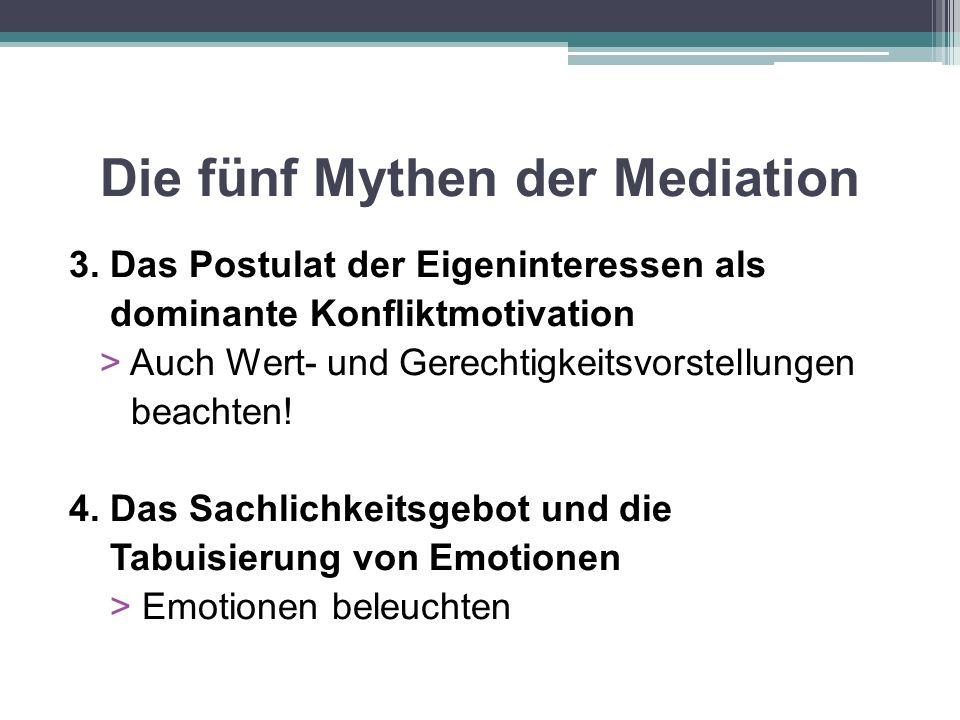 Die fünf Mythen der Mediation 3. Das Postulat der Eigeninteressen als dominante Konfliktmotivation > Auch Wert- und Gerechtigkeitsvorstellungen beacht