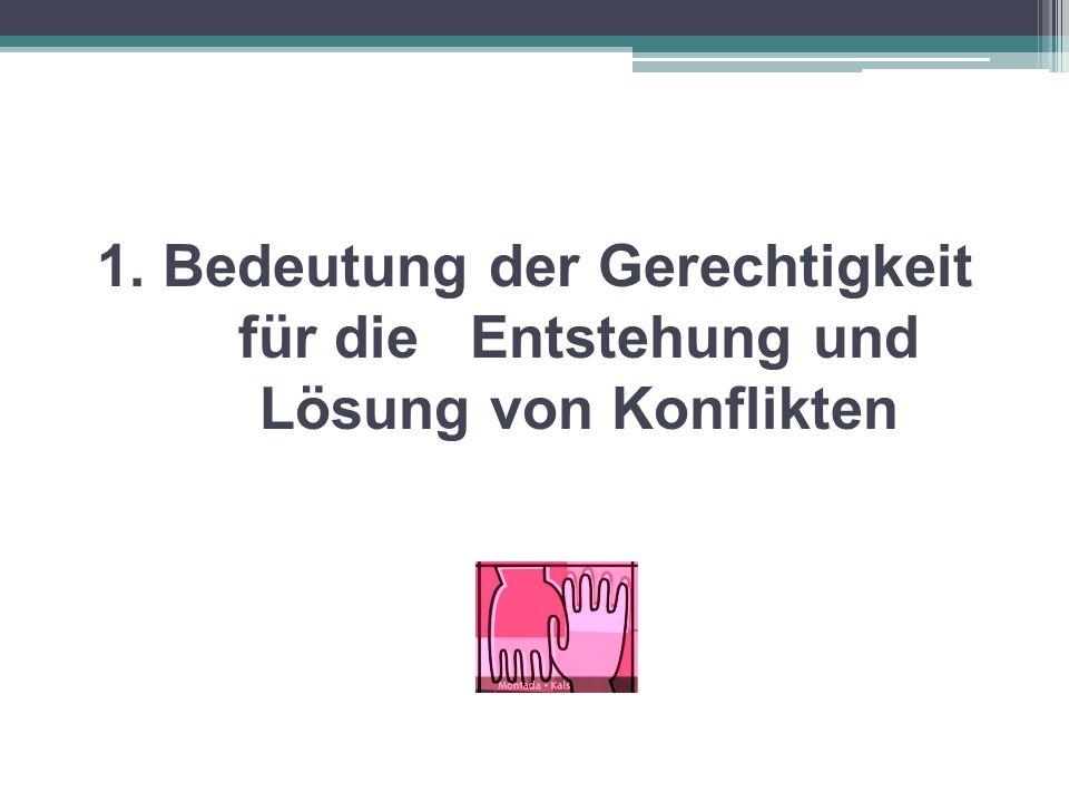 Die Rolle der Gerechtigkeit im Konflikt Auslöser von Konflikten: Subjektiv wahrgenommene Ungerechtigkeit Leitindikatoren von Konflikten: Empörung und Schuldvorwürfe