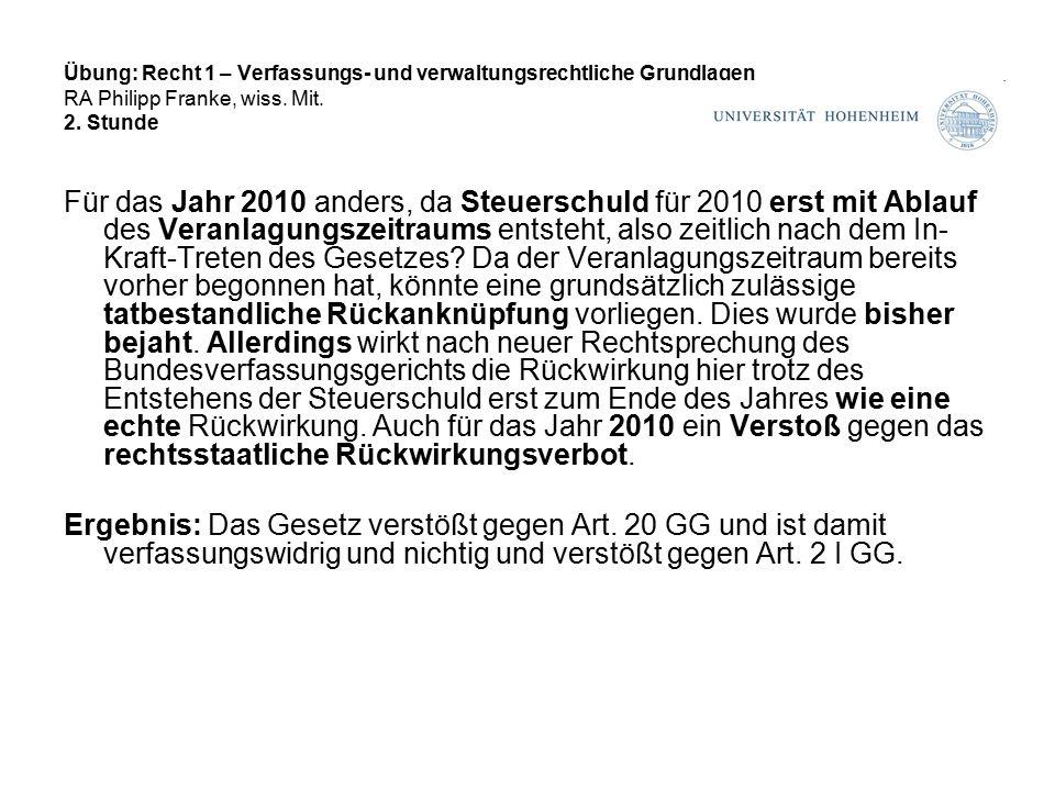 Übung: Recht 1 – Verfassungs- und verwaltungsrechtliche Grundlagen RA Philipp Franke, wiss.