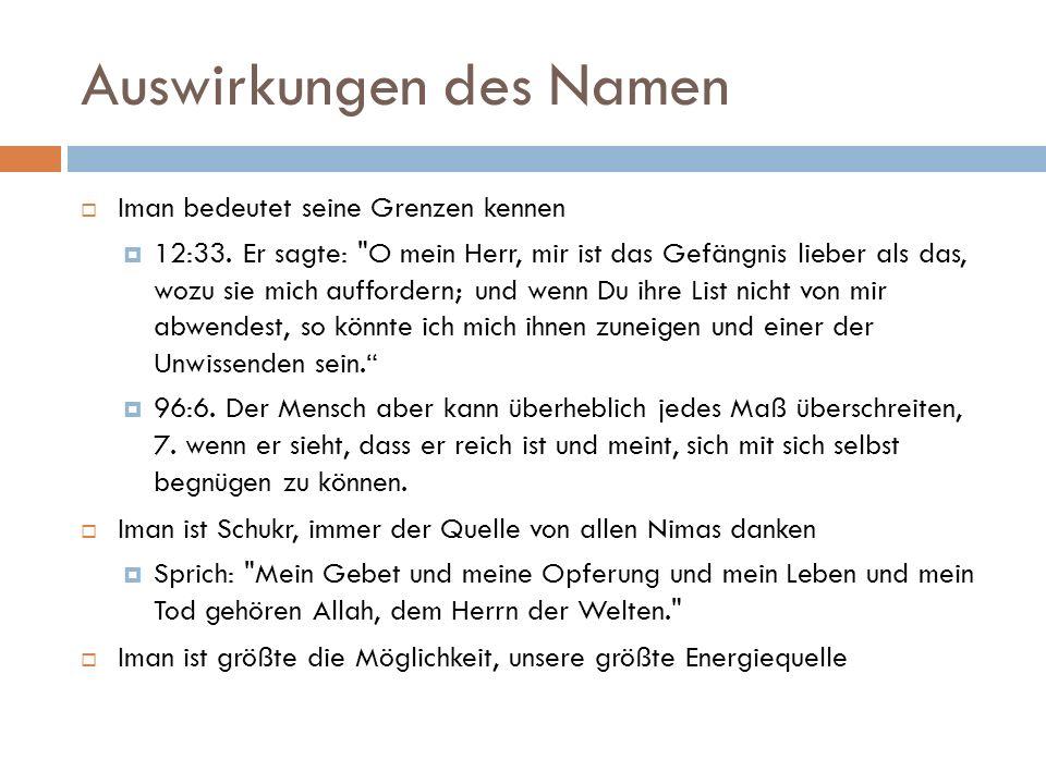 Auswirkungen des Namen  Iman bedeutet seine Grenzen kennen  12:33.