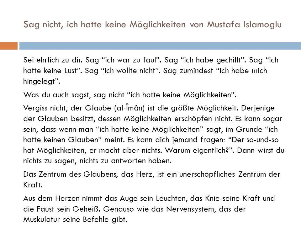 Sag nicht, ich hatte keine Möglichkeiten von Mustafa Islamoglu Sei ehrlich zu dir.