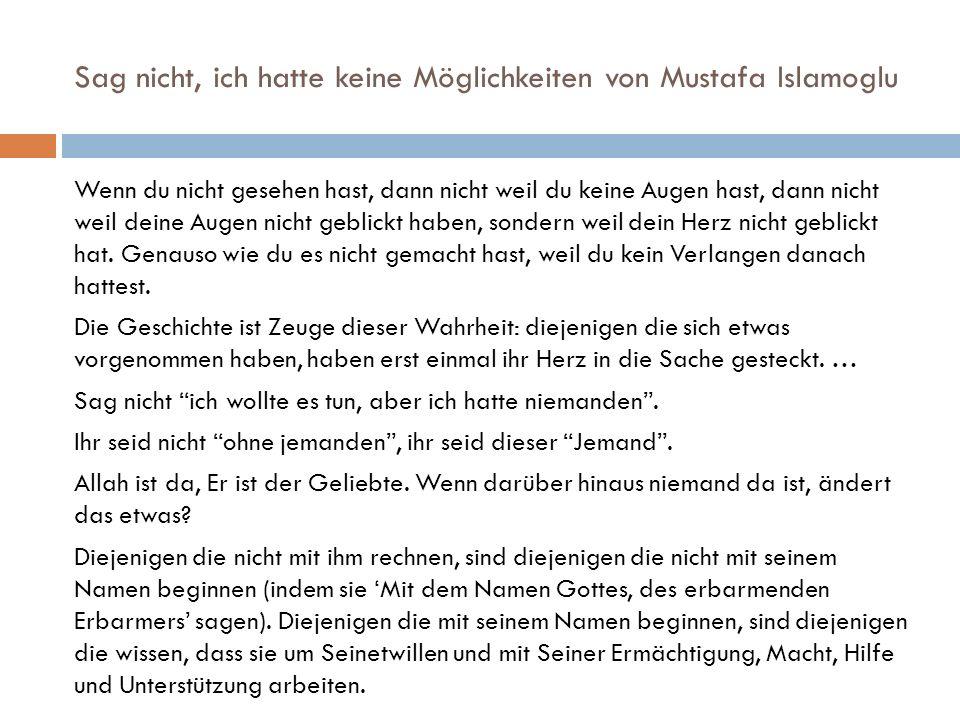 Sag nicht, ich hatte keine Möglichkeiten von Mustafa Islamoglu Wenn du nicht gesehen hast, dann nicht weil du keine Augen hast, dann nicht weil deine Augen nicht geblickt haben, sondern weil dein Herz nicht geblickt hat.
