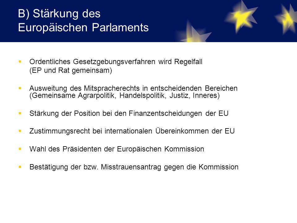 B) Stärkung des Europäischen Parlaments  Ordentliches Gesetzgebungsverfahren wird Regelfall (EP und Rat gemeinsam)  Ausweitung des Mitspracherechts in entscheidenden Bereichen (Gemeinsame Agrarpolitik, Handelspolitik, Justiz, Inneres)  Stärkung der Position bei den Finanzentscheidungen der EU  Zustimmungsrecht bei internationalen Übereinkommen der EU  Wahl des Präsidenten der Europäischen Kommission  Bestätigung der bzw.