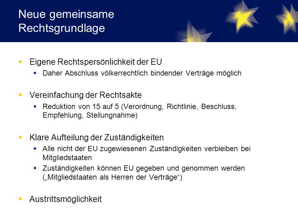 """Neue gemeinsame Rechtsgrundlage  Eigene Rechtspersönlichkeit der EU  Daher Abschluss völkerrechtlich bindender Verträge möglich  Vereinfachung der Rechtsakte  Reduktion von 15 auf 5 (Verordnung, Richtlinie, Beschluss, Empfehlung, Stellungnahme)  Klare Aufteilung der Zuständigkeiten  Alle nicht der EU zugewiesenen Zuständigkeiten verbleiben bei Mitgliedstaaten  Zuständigkeiten können EU gegeben und genommen werden (""""Mitgliedstaaten als Herren der Verträge )  Austrittsmöglichkeit"""
