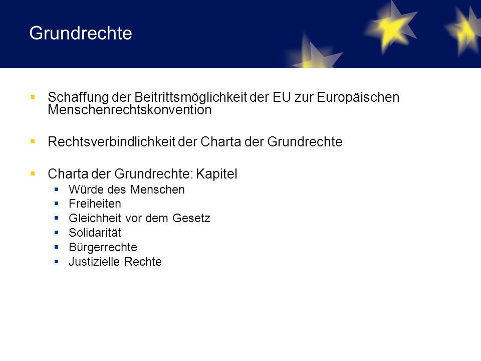 Grundrechte  Schaffung der Beitrittsmöglichkeit der EU zur Europäischen Menschenrechtskonvention  Rechtsverbindlichkeit der Charta der Grundrechte  Charta der Grundrechte: Kapitel  Würde des Menschen  Freiheiten  Gleichheit vor dem Gesetz  Solidarität  Bürgerrechte  Justizielle Rechte