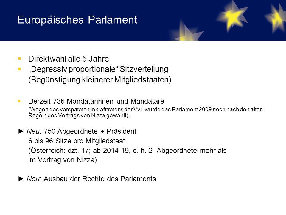 """Europäisches Parlament  Direktwahl alle 5 Jahre  """"Degressiv proportionale Sitzverteilung (Begünstigung kleinerer Mitgliedstaaten)  Derzeit 736 Mandatarinnen und Mandatare (Wegen des verspäteten Inkrafttretens der VvL wurde das Parlament 2009 noch nach den alten Regeln des Vertrags von Nizza gewählt)."""