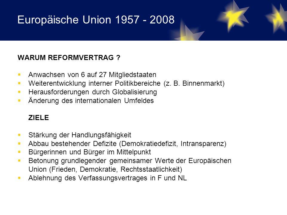 Europäische Union 1957 - 2008 WARUM REFORMVERTRAG .