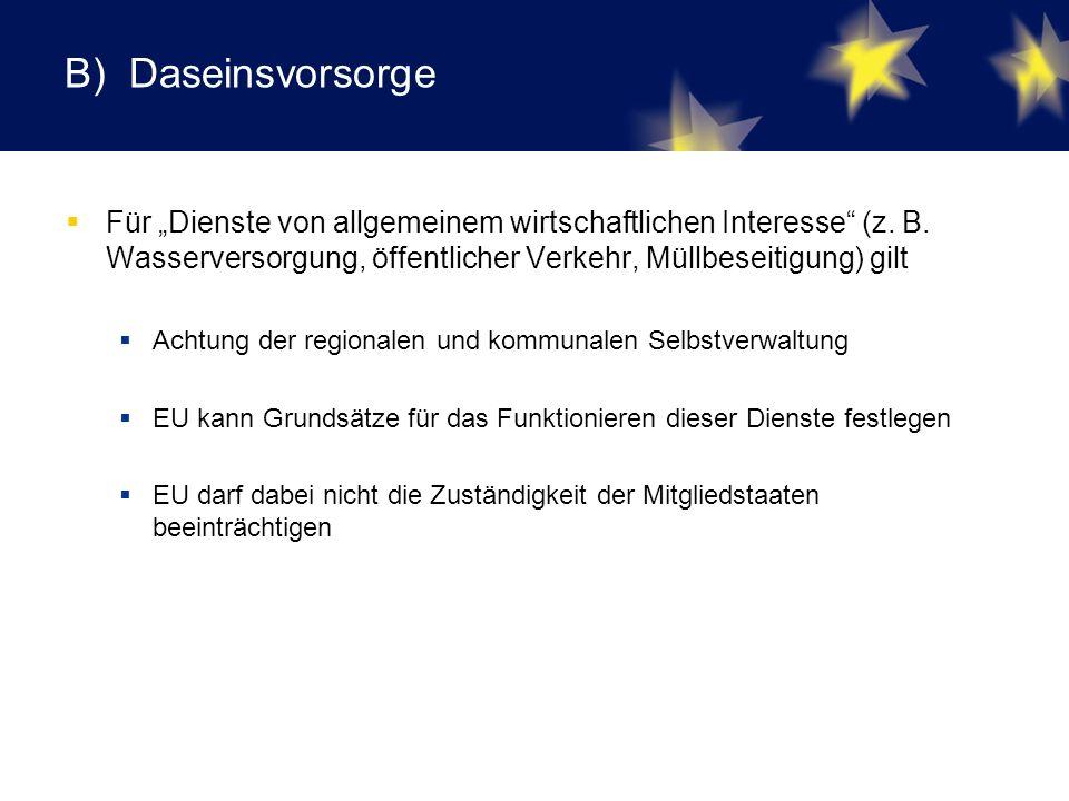 """B) Daseinsvorsorge  Für """"Dienste von allgemeinem wirtschaftlichen Interesse (z."""