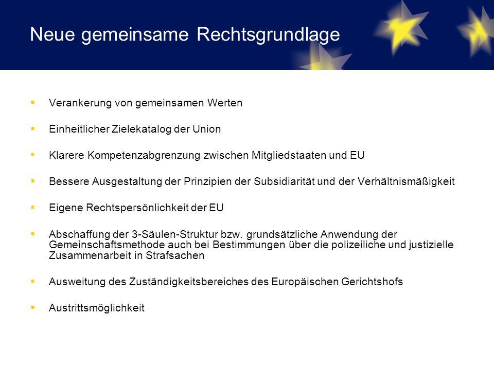 Neue gemeinsame Rechtsgrundlage  Verankerung von gemeinsamen Werten  Einheitlicher Zielekatalog der Union  Klarere Kompetenzabgrenzung zwischen Mitgliedstaaten und EU  Bessere Ausgestaltung der Prinzipien der Subsidiarität und der Verhältnismäßigkeit  Eigene Rechtspersönlichkeit der EU  Abschaffung der 3-Säulen-Struktur bzw.