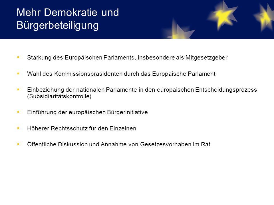 Mehr Demokratie und Bürgerbeteiligung  Stärkung des Europäischen Parlaments, insbesondere als Mitgesetzgeber  Wahl des Kommissionspräsidenten durch das Europäische Parlament  Einbeziehung der nationalen Parlamente in den europäischen Entscheidungsprozess (Subsidiaritätskontrolle)  Einführung der europäischen Bürgerinitiative  Höherer Rechtsschutz für den Einzelnen  Öffentliche Diskussion und Annahme von Gesetzesvorhaben im Rat
