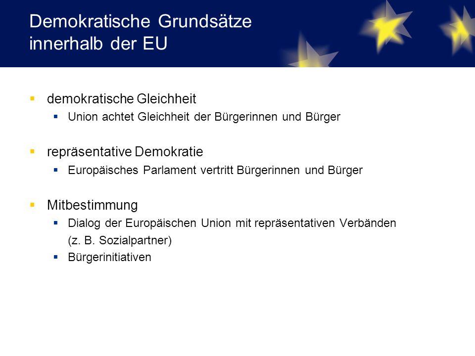 Demokratische Grundsätze innerhalb der EU  demokratische Gleichheit  Union achtet Gleichheit der Bürgerinnen und Bürger  repräsentative Demokratie  Europäisches Parlament vertritt Bürgerinnen und Bürger  Mitbestimmung  Dialog der Europäischen Union mit repräsentativen Verbänden (z.