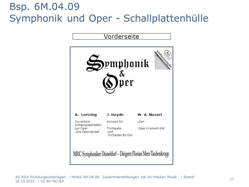 AG RDA Schulungsunterlagen – Modul 6M.04.06: Zusammenstellungen bei AV-Medien Musik | Stand: 16.10.2015 | CC BY-NC-SA Vorderseite Bsp. 6M.04.09 Sympho