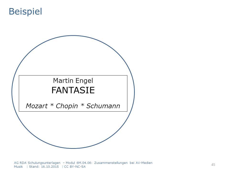 AG RDA Schulungsunterlagen – Modul 6M.04.06: Zusammenstellungen bei AV-Medien Musik | Stand: 16.10.2015 | CC BY-NC-SA Martin Engel FANTASIE Mozart * C