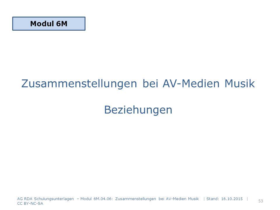 Zusammenstellungen bei AV-Medien Musik Beziehungen Modul 6M 53 AG RDA Schulungsunterlagen – Modul 6M.04.06: Zusammenstellungen bei AV-Medien Musik | S