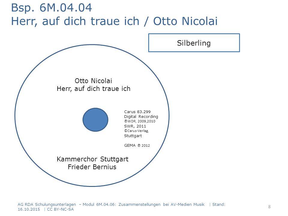 AG RDA Schulungsunterlagen – Modul 6M.04.06: Zusammenstellungen bei AV-Medien Musik   Stand: 16.10.2015   CC BY-NC-SA Rückseite Vorderseite Bsp.