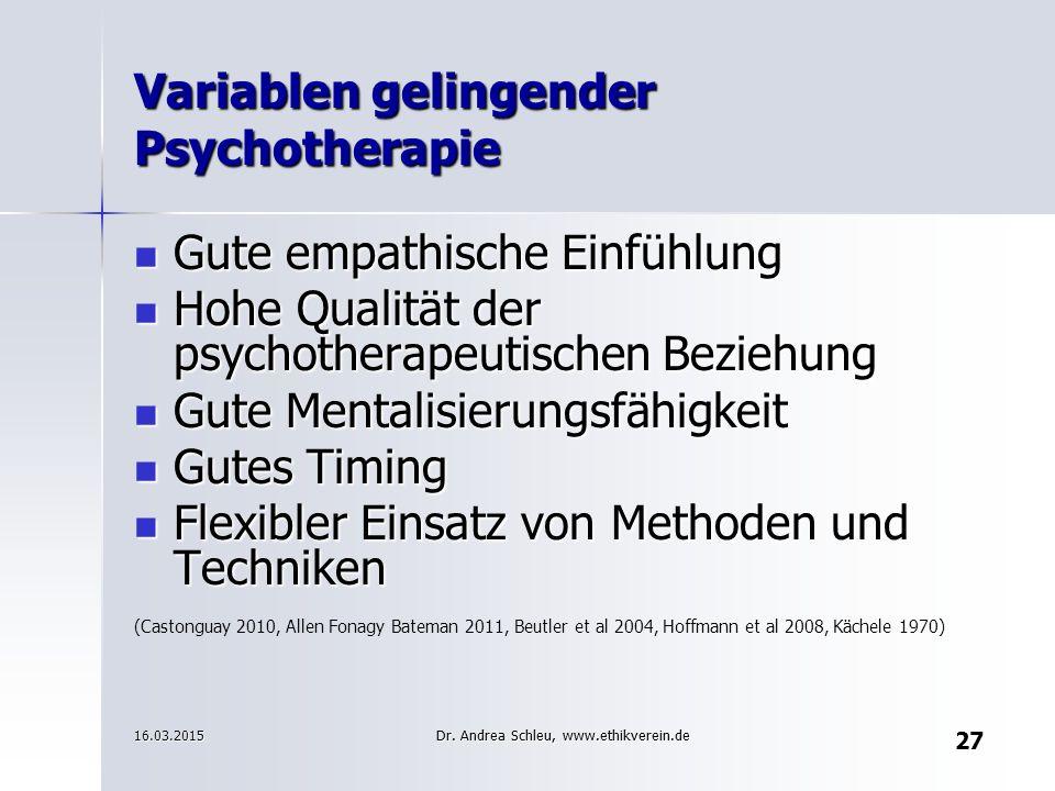 27 Variablen gelingender Psychotherapie Gute empathische Einfühlung Gute empathische Einfühlung Hohe Qualität der psychotherapeutischen Beziehung Hohe