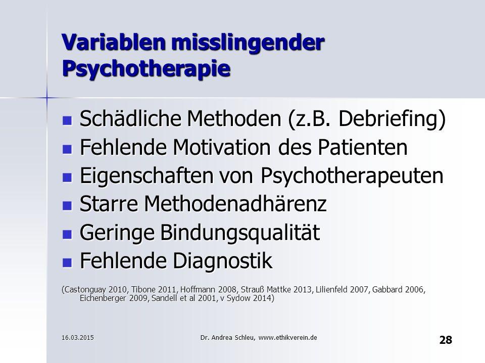 28 Variablen misslingender Psychotherapie Schädliche Methoden (z.B. Debriefing) Schädliche Methoden (z.B. Debriefing) Fehlende Motivation des Patiente