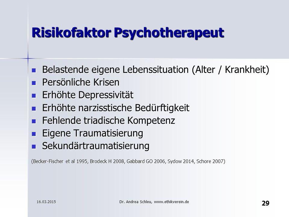 29 Risikofaktor Psychotherapeut Belastende eigene Lebenssituation (Alter / Krankheit) Belastende eigene Lebenssituation (Alter / Krankheit) Persönlich