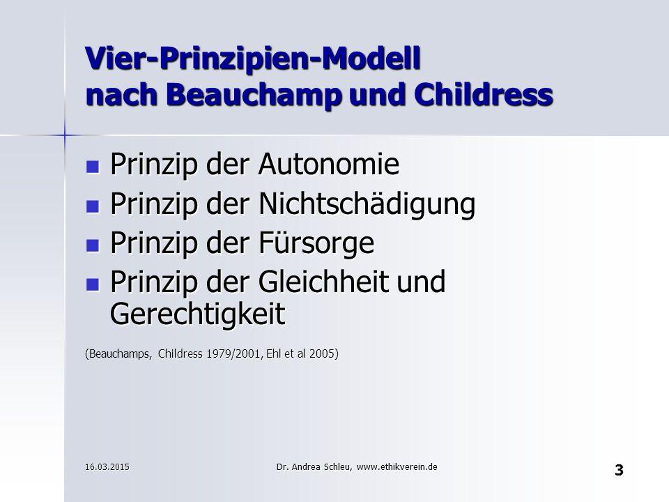 3 Vier-Prinzipien-Modell nach Beauchamp und Childress Prinzip der Autonomie Prinzip der Autonomie Prinzip der Nichtschädigung Prinzip der Nichtschädig