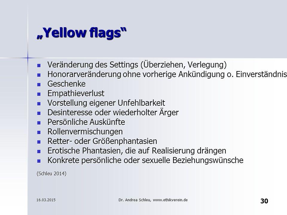 "30 ""Yellow flags"" Veränderung des Settings (Überziehen, Verlegung) Veränderung des Settings (Überziehen, Verlegung) Honorarveränderung ohne vorherige"