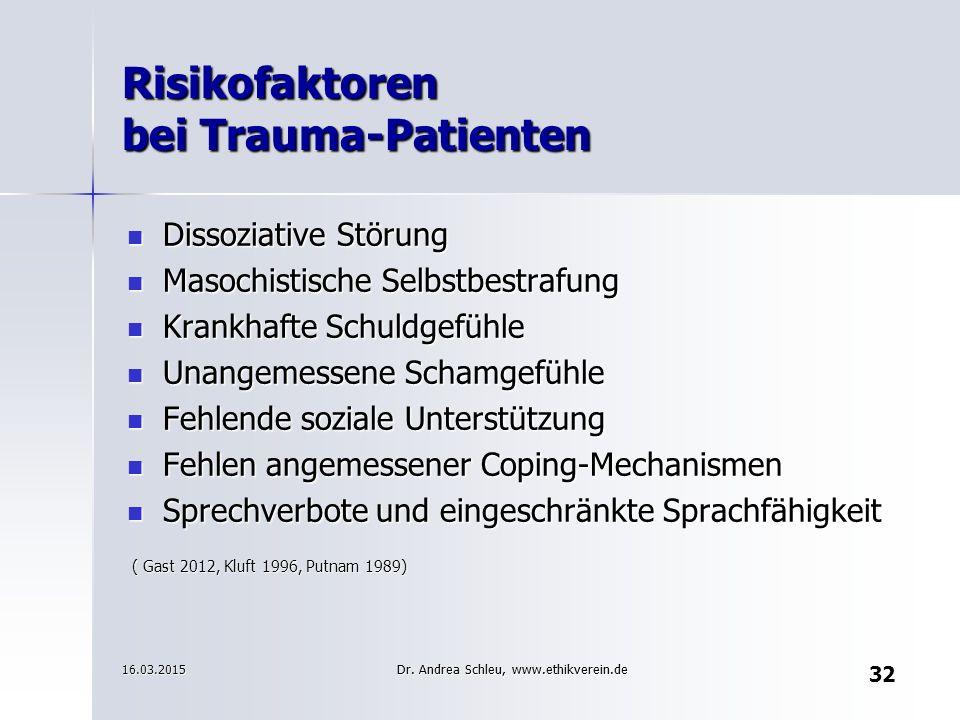 32 Risikofaktoren bei Trauma-Patienten Dissoziative Störung Dissoziative Störung Masochistische Selbstbestrafung Masochistische Selbstbestrafung Krank