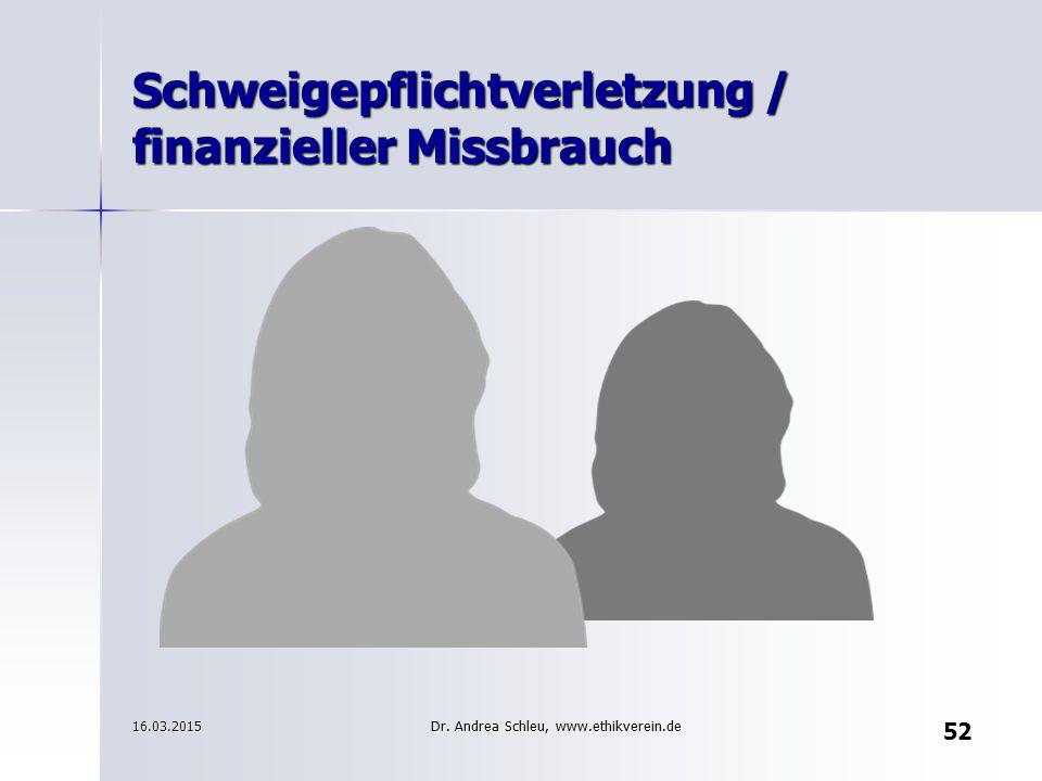 Schweigepflichtverletzung / finanzieller Missbrauch 16.03.2015 52 Dr. Andrea Schleu, www.ethikverein.de