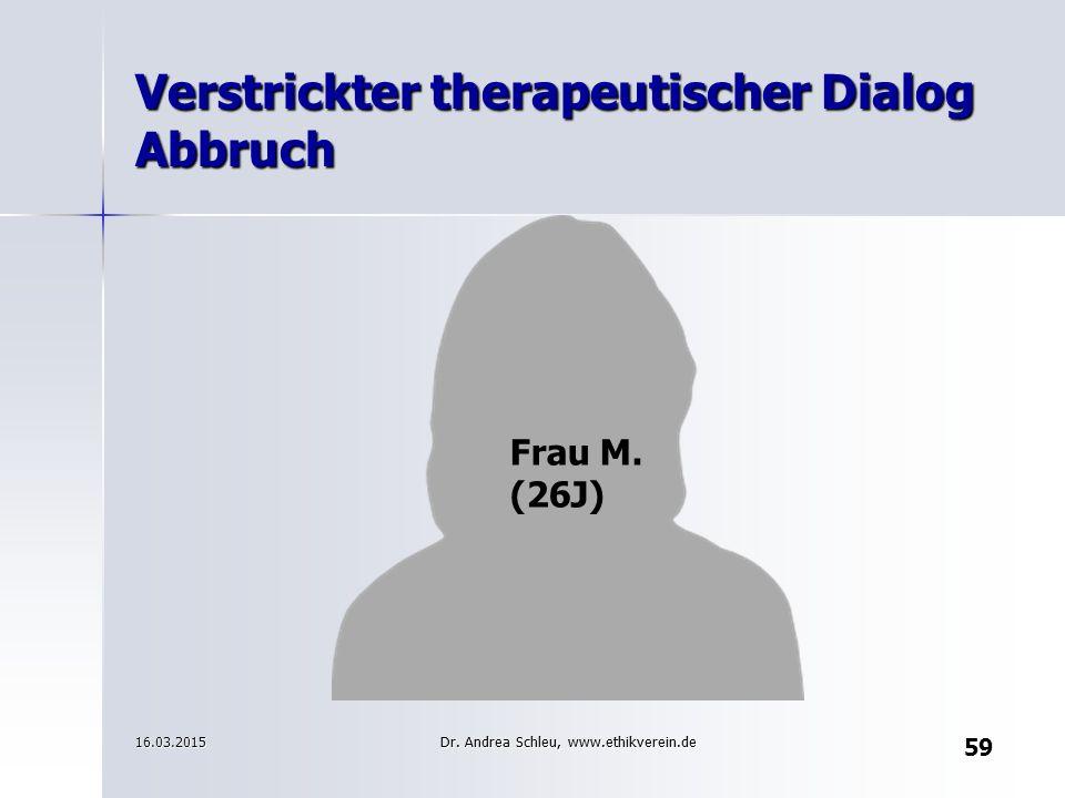 Verstrickter therapeutischer Dialog Abbruch Frau M. (26J) 16.03.2015 59 Dr. Andrea Schleu, www.ethikverein.de