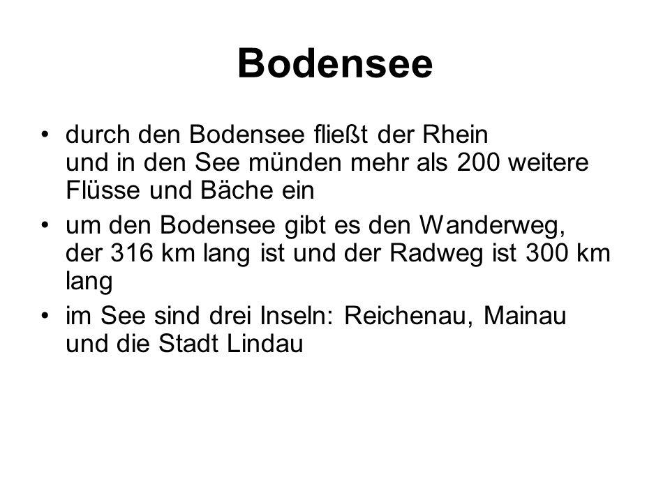 Bodensee durch den Bodensee fließt der Rhein und in den See münden mehr als 200 weitere Flüsse und Bäche ein um den Bodensee gibt es den Wanderweg, der 316 km lang ist und der Radweg ist 300 km lang im See sind drei Inseln: Reichenau, Mainau und die Stadt Lindau
