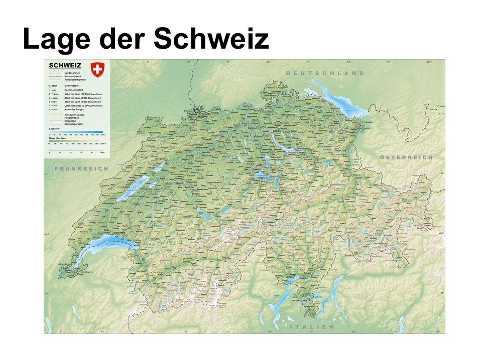 Alpen typisch für die Schweiz Durchschnittshöhe 1700 m bestimmen das Klima und die Vegetation kein normales Leben sondern Tourismus, Erholungszentren, Sportanlagen, Hotels