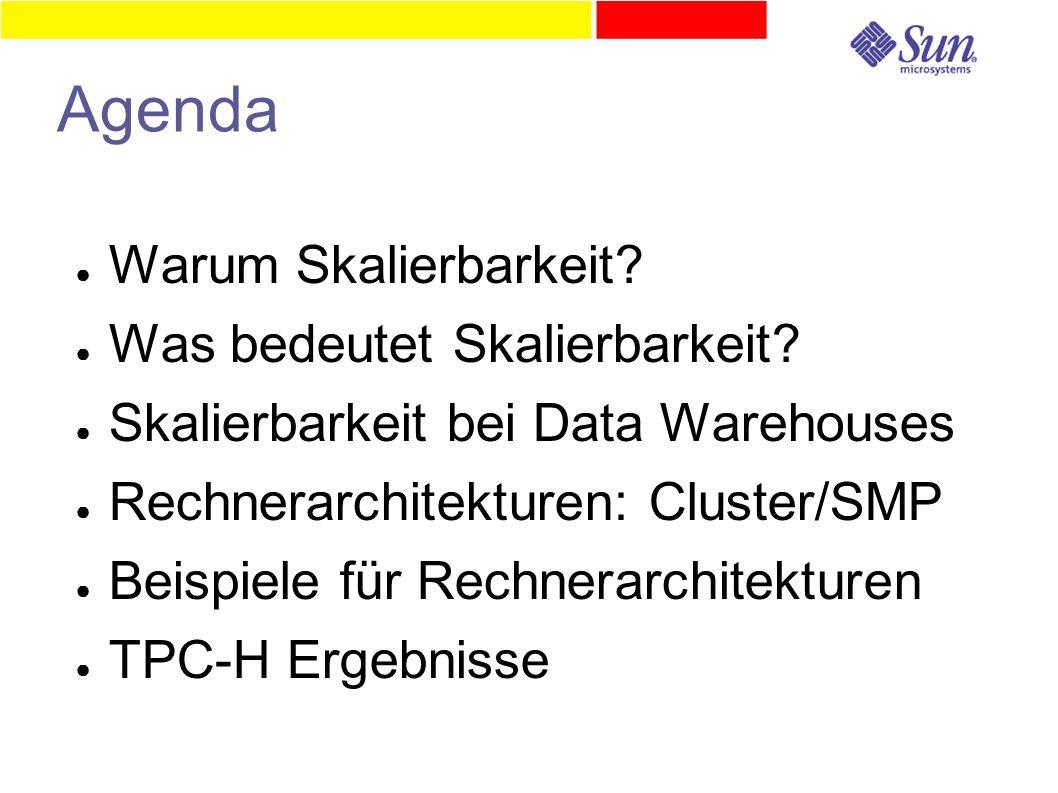 Agenda ● Warum Skalierbarkeit? ● Was bedeutet Skalierbarkeit? ● Skalierbarkeit bei Data Warehouses ● Rechnerarchitekturen: Cluster/SMP ● Beispiele für