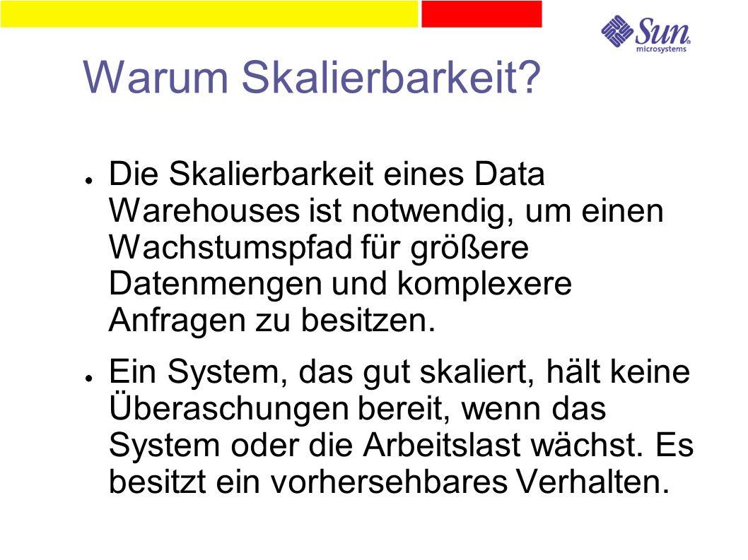 Warum Skalierbarkeit? ● Die Skalierbarkeit eines Data Warehouses ist notwendig, um einen Wachstumspfad für größere Datenmengen und komplexere Anfragen