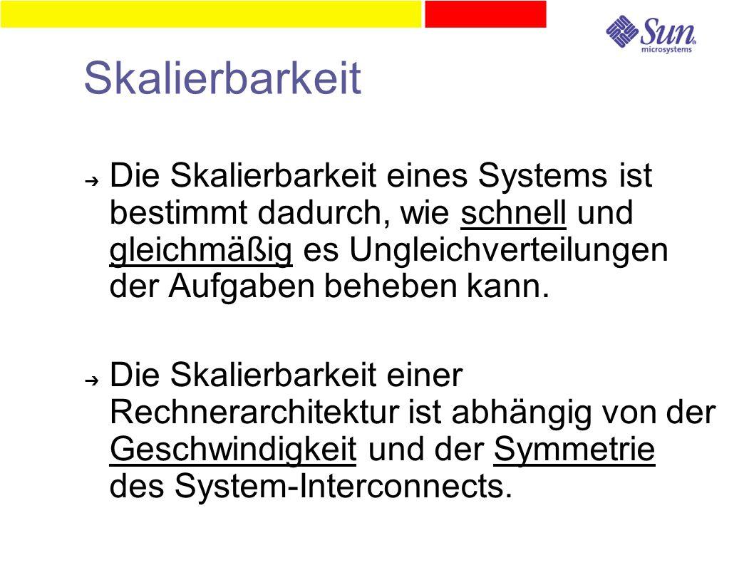 Skalierbarkeit ➔ Die Skalierbarkeit eines Systems ist bestimmt dadurch, wie schnell und gleichmäßig es Ungleichverteilungen der Aufgaben beheben kann.
