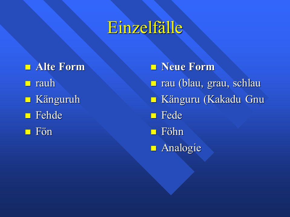 Einzelfälle Alte Form Alte Form rauh rauh Känguruh Känguruh Fehde Fehde Fön Fön Neue Form Neue Form rau (blau, grau, schlau rau (blau, grau, schlau Kä