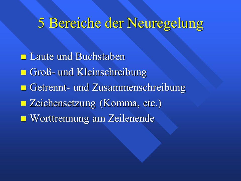 5 Bereiche der Neuregelung Laute und Buchstaben Laute und Buchstaben Groß- und Kleinschreibung Groß- und Kleinschreibung Getrennt- und Zusammenschreib