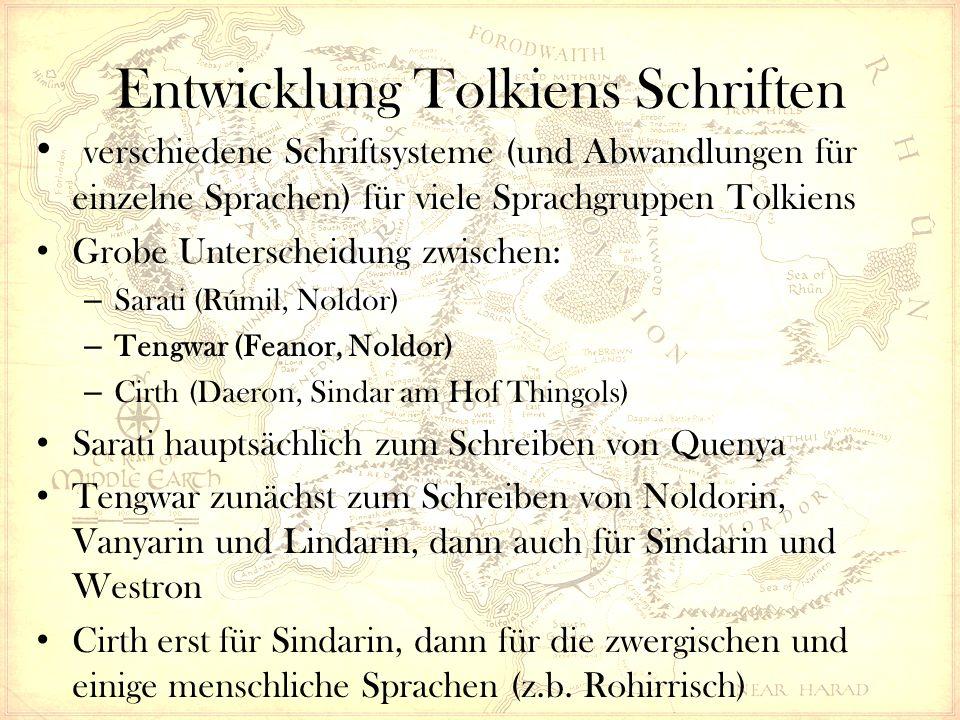 Entwicklung Tolkiens Schriften verschiedene Schriftsysteme (und Abwandlungen für einzelne Sprachen) für viele Sprachgruppen Tolkiens Grobe Unterscheidung zwischen: – Sarati (Rúmil, Noldor) – Tengwar (Feanor, Noldor) – Cirth (Daeron, Sindar am Hof Thingols) Sarati hauptsächlich zum Schreiben von Quenya Tengwar zunächst zum Schreiben von Noldorin, Vanyarin und Lindarin, dann auch für Sindarin und Westron Cirth erst für Sindarin, dann für die zwergischen und einige menschliche Sprachen (z.b.