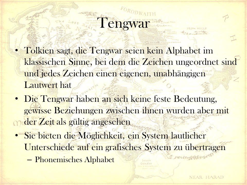 Tengwar Tolkien sagt, die Tengwar seien kein Alphabet im klassischen Sinne, bei dem die Zeichen ungeordnet sind und jedes Zeichen einen eigenen, unabhängigen Lautwert hat Die Tengwar haben an sich keine feste Bedeutung, gewisse Beziehungen zwischen ihnen wurden aber mit der Zeit als gültig angesehen Sie bieten die Möglichkeit, ein System lautlicher Unterschiede auf ein grafisches System zu übertragen – Phonemisches Alphabet
