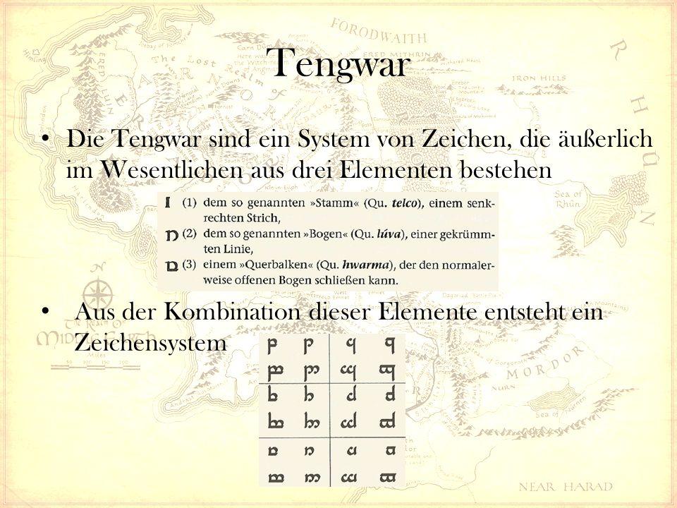 Tengwar Die Tengwar sind ein System von Zeichen, die äußerlich im Wesentlichen aus drei Elementen bestehen Aus der Kombination dieser Elemente entsteht ein Zeichensystem