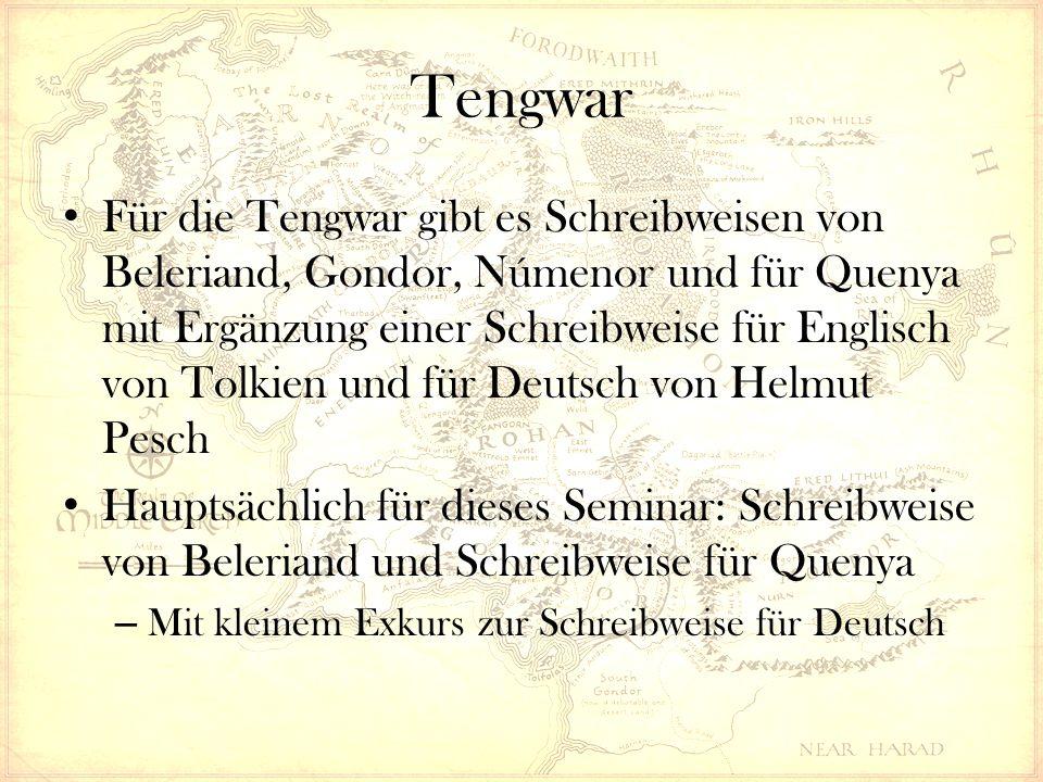 Tengwar Für die Tengwar gibt es Schreibweisen von Beleriand, Gondor, Númenor und für Quenya mit Ergänzung einer Schreibweise für Englisch von Tolkien und für Deutsch von Helmut Pesch Hauptsächlich für dieses Seminar: Schreibweise von Beleriand und Schreibweise für Quenya – Mit kleinem Exkurs zur Schreibweise für Deutsch