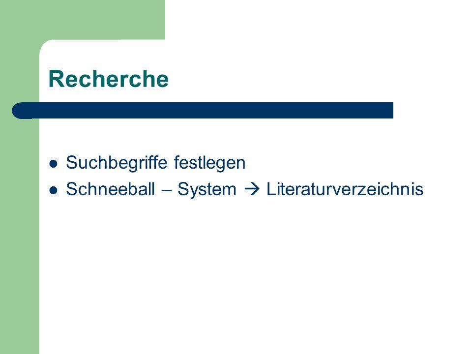 Recherche Suchbegriffe festlegen Schneeball – System  Literaturverzeichnis