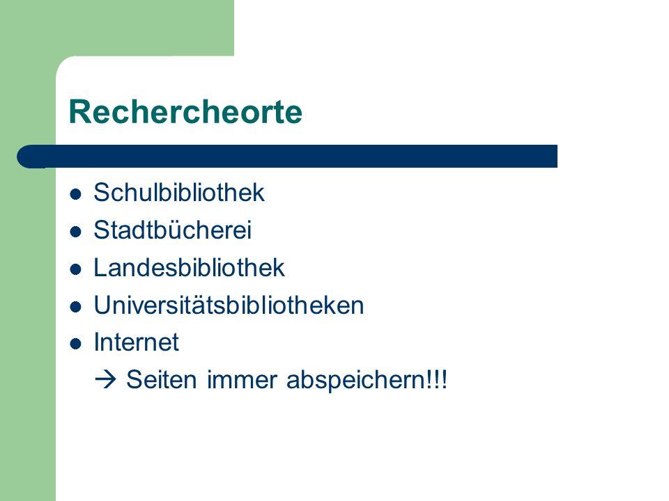 Rechercheorte Schulbibliothek Stadtbücherei Landesbibliothek Universitätsbibliotheken Internet  Seiten immer abspeichern!!!