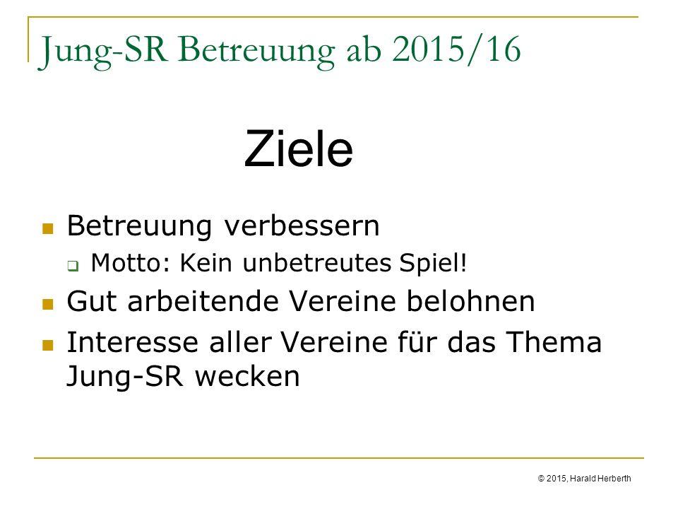 © 2015, Harald Herberth Jung-SR Betreuung ab 2015/16 Betreuung verbessern  Motto: Kein unbetreutes Spiel.