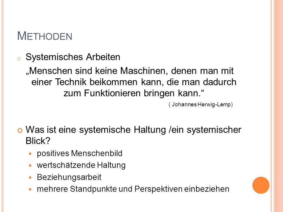"""M ETHODEN o Systemisches Arbeiten """"Menschen sind keine Maschinen, denen man mit einer Technik beikommen kann, die man dadurch zum Funktionieren bringen kann. ( Johannes Herwig-Lemp) Was ist eine systemische Haltung /ein systemischer Blick."""