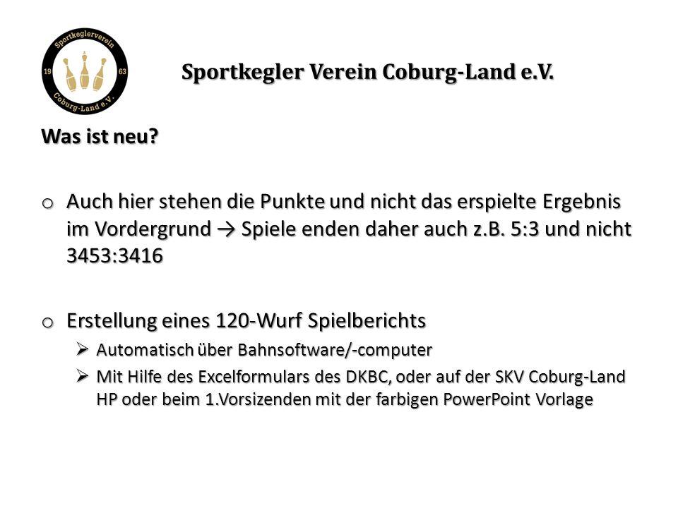 Sportkegler Verein Coburg-Land e.V. Was ist neu.