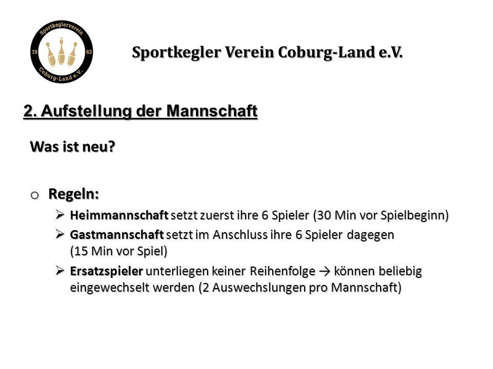 Unterschrift MSF Exemplarischer Aufstellungsbogen → hier werden vor dem Spiel die Aufstellungen eingetragen Sportkegler Verein Coburg-Land e.V.