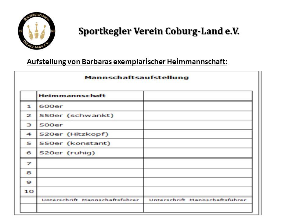 Dagegenstellen von Barbaras exemplarischer Gastmannschaft: Sportkegler Verein Coburg-Land e.V.