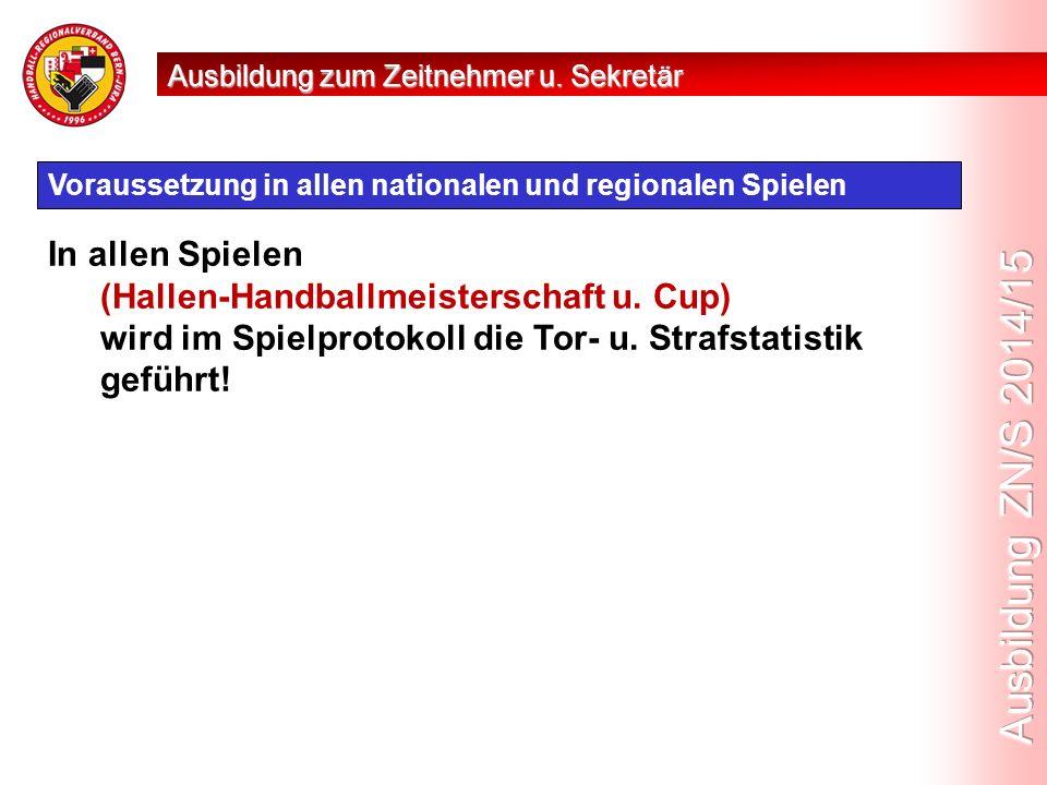 Voraussetzung in allen nationalen und regionalen Spielen In allen Spielen (Hallen-Handballmeisterschaft u.