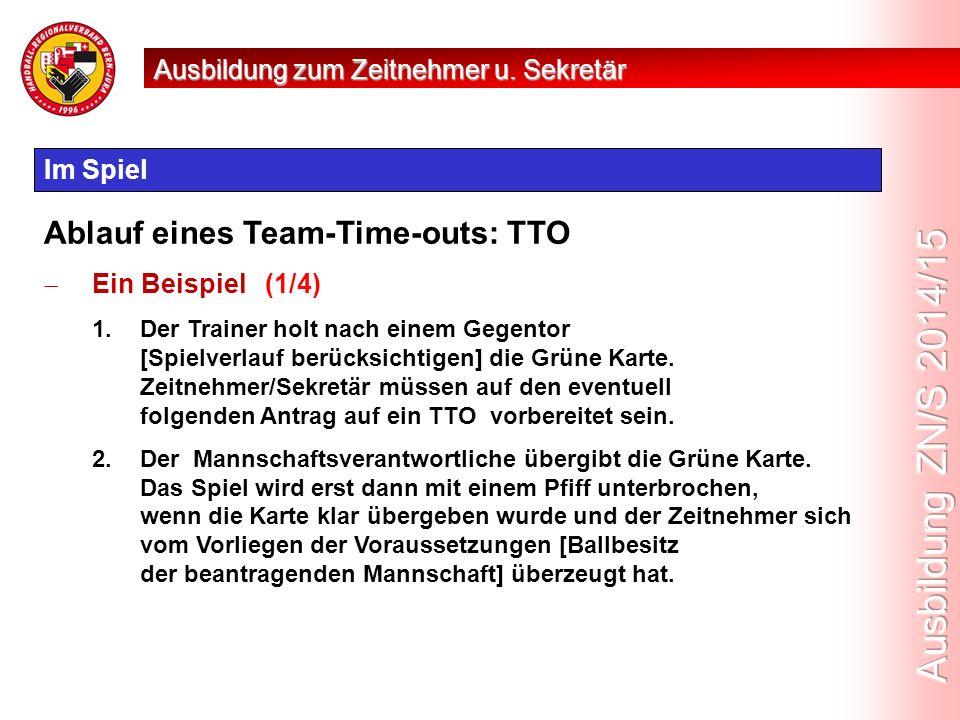 Im Spiel Ablauf eines Team-Time-outs: TTO  Ein Beispiel (1/4) 1.Der Trainer holt nach einem Gegentor [Spielverlauf berücksichtigen] die Grüne Karte.