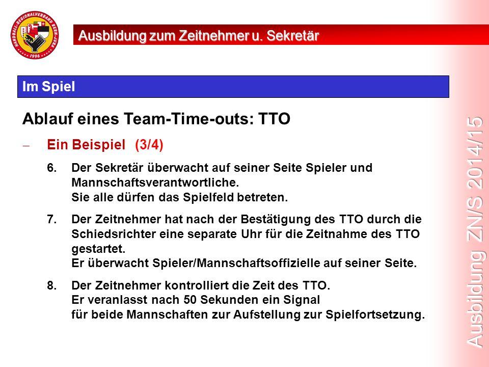 Im Spiel Ablauf eines Team-Time-outs: TTO  Ein Beispiel (3/4) 6.Der Sekretär überwacht auf seiner Seite Spieler und Mannschaftsverantwortliche.