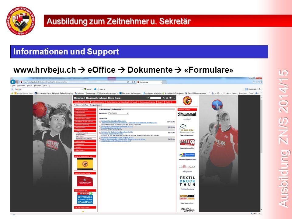 Informationen und Support www.hrvbeju.ch  eOffice  Dokumente  «Formulare» Ausbildung zum Zeitnehmer u.